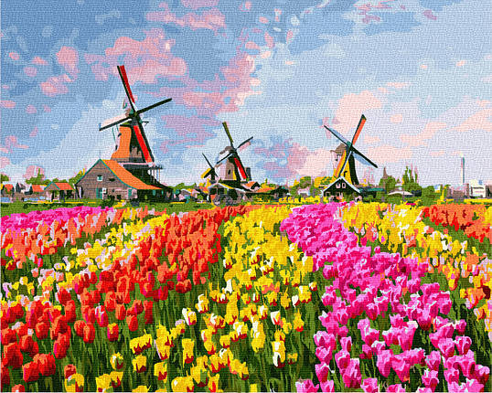Картина по номерам - Мельницы в тюльпановом поле Brushme 40*50 см. (GX27201), фото 2