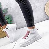 Ботинки женские Nies белые с розовым 2793, фото 2