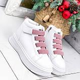 Ботинки женские Nies белые с розовым 2793, фото 3