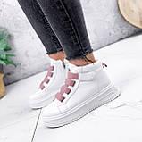 Ботинки женские Nies белые с розовым 2793, фото 4
