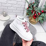 Ботинки женские Nies белые с розовым 2793, фото 5