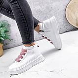 Ботинки женские Nies белые с розовым 2793, фото 6