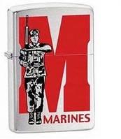 Бензиновая зажигалка Zippo Marines, 21104 (Brushed Chrome), оригинал