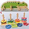Дерев'яна іграшка Геометрика MD 2759 пірамідка-ключ, фігурки 16 шт., кор., 30,5-13-9,5 см.