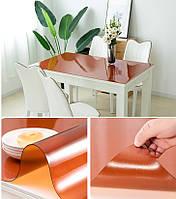 Пленка мягкое стекло силиконовая на стол ПВХ, толщина 2мм, коричневая премиум 70х110см