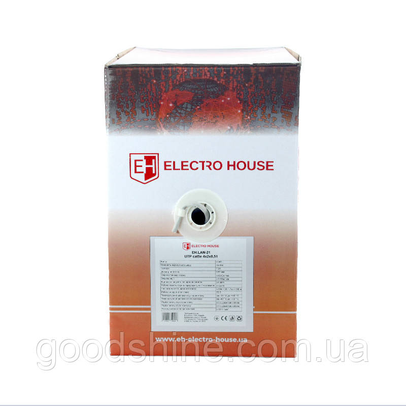 ElectroHouse Кабель UTP 4х2х0,51 CCA серый (внутр. монтаж)