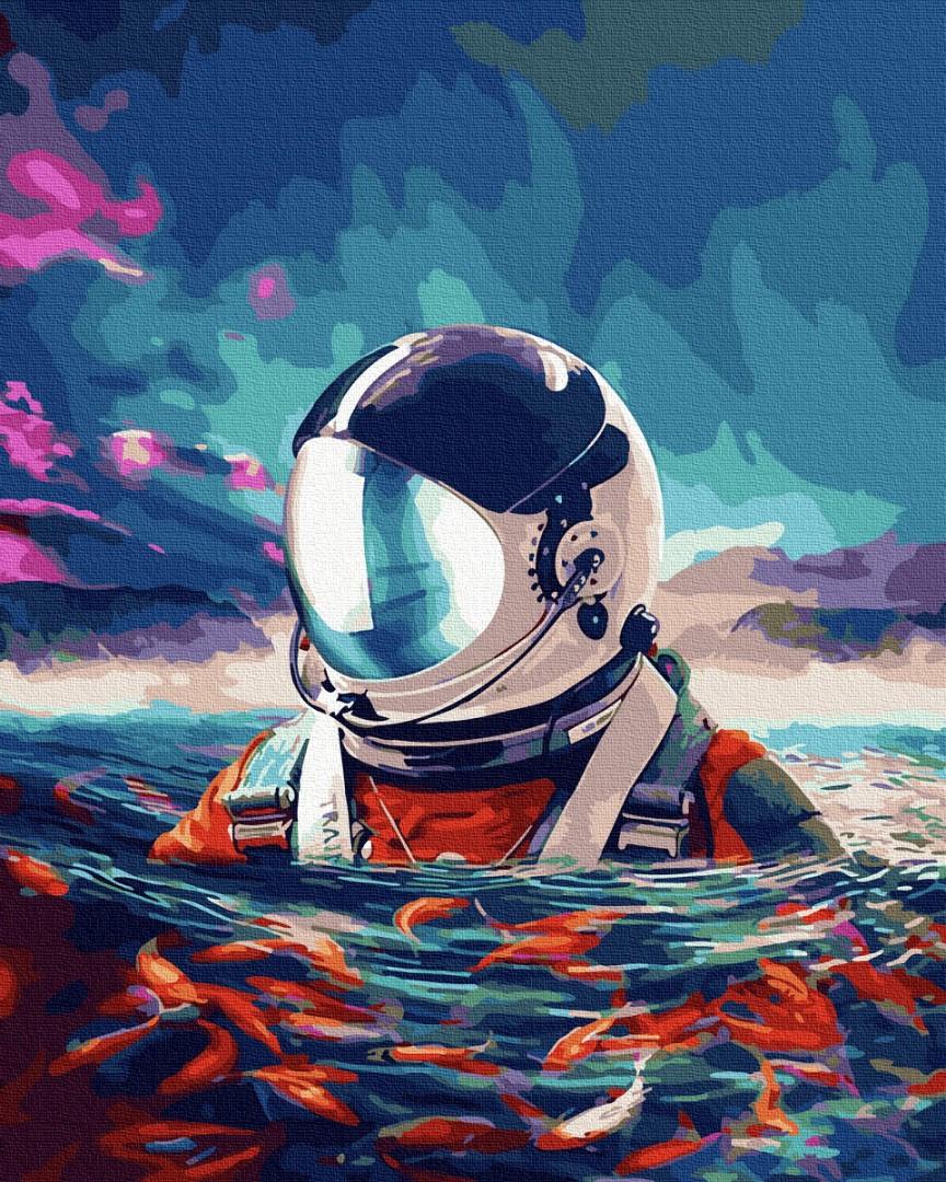 Картина по номерам - Астронавт и рыбки Brushme 40*50 см. (GX35337)