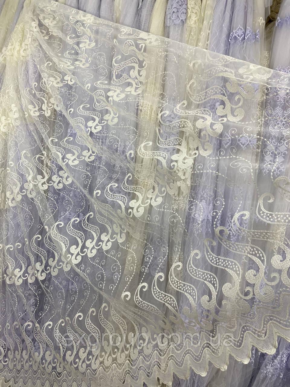 Фатиновый тюль с абстрактной вышивкой ТОР-6 на отрез