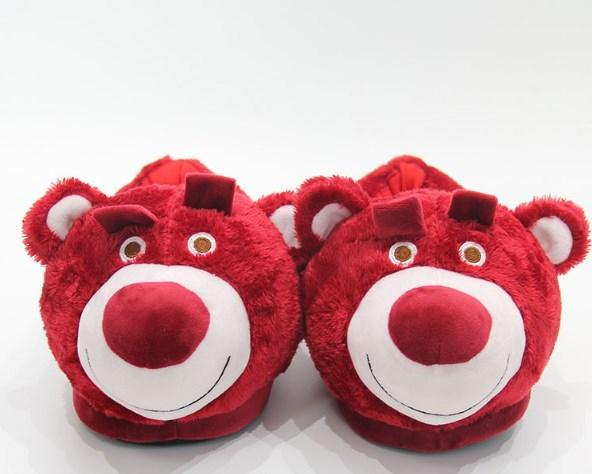 Тапочки Мишки Бордовые,36-40