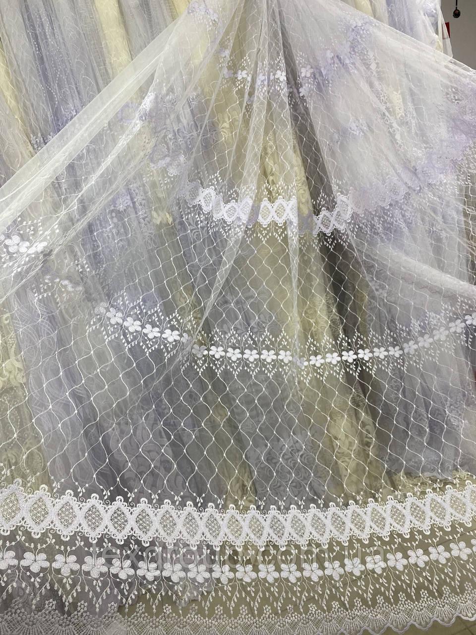 Фатиновый тюль сетка с вышивкой TOR-2