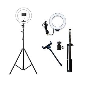 Кільцева світлодіодна LED лампа RING 26см на штативі 2м з тримачем, для блогерів, селфи, фотографів