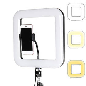 Квадратная светодиодная LED-Лампа D=35 см для Селфи Selfie Ring Fill Light с Держателем 3 Режима свечения