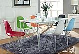 Білий стілець Тауер металеві ніжки хром, фото 6