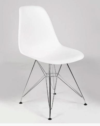 Білий стілець Тауер металеві ніжки хром