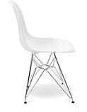 Білий стілець Тауер металеві ніжки хром, фото 3