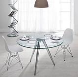 Білий стілець Тауер металеві ніжки хром, фото 4