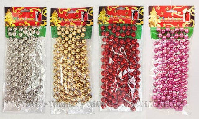 Бусы пластиковые в ассортименте, 12мм, 2.7м