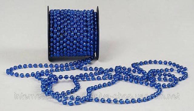 Бусы пластиковые синие, 6мм, 12м