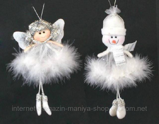 Елочное украшение из ткани Ангел и Снеговик, 17см