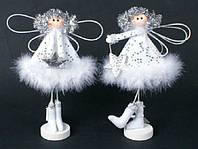 Новогодняя игрушка из ткани и пуха Ангел, 25см