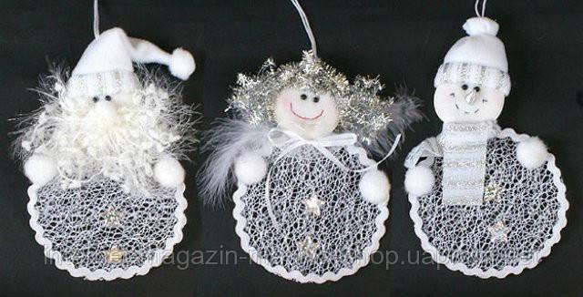 Елочное украшение Санта, Ангел, Снеговик, 15см