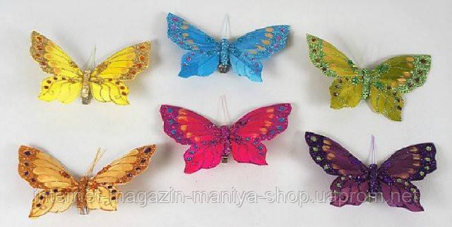 Набор (3) декоративных бабочек с клипсой, 11см