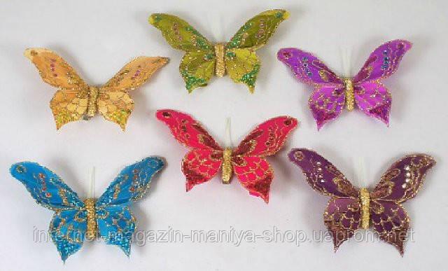 Набор (3) декоративных бабочек с клипсой, 13см