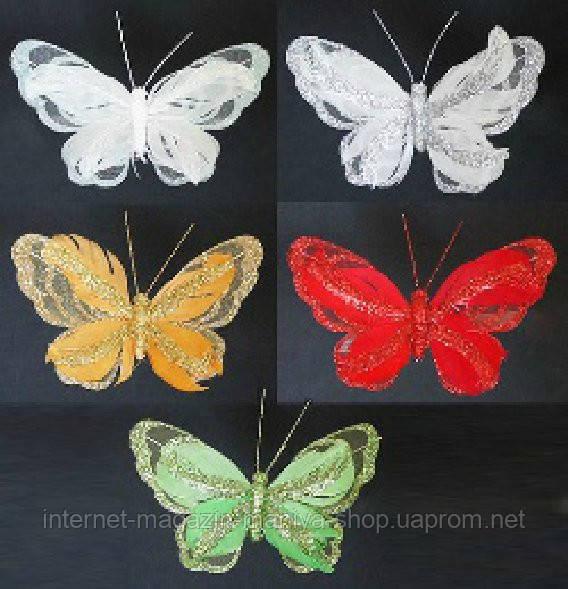Набор (3) декоративных бабочек с клипсой, 15см