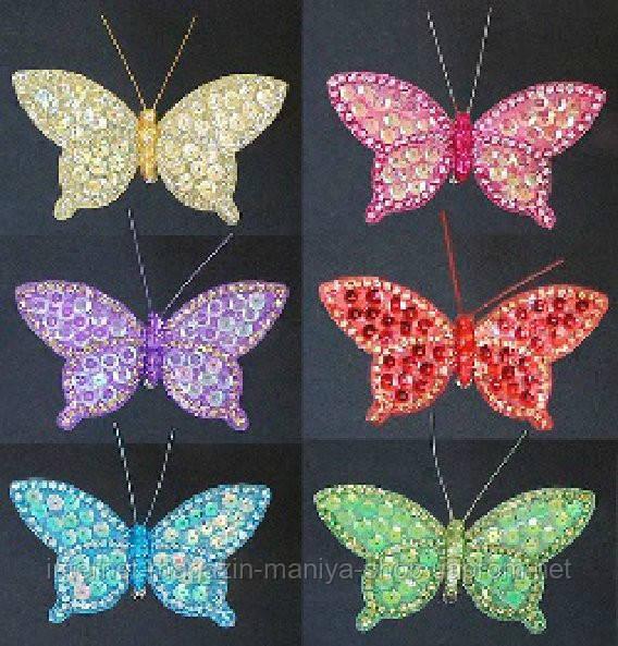Набор (3) декоративных бабочек с клипсой, 10см