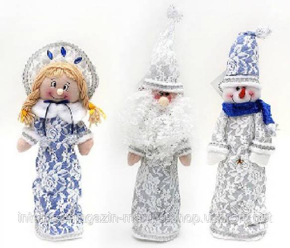 Новогодний декор для бутылки Санта, Снеговик, Снегурочка, 44см