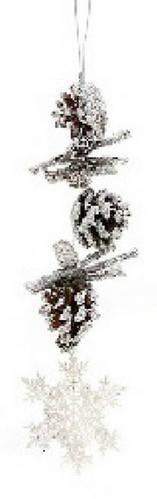 Новогоднее украшение подвеска из шишек с декором, 40см