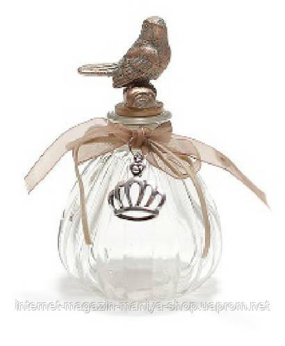 Декоративная бутылочка с пробкой в форме птички