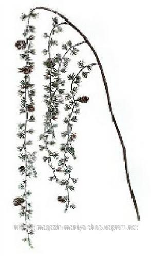 Декоративная ветка из хвои с шишками 60см