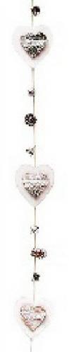 Декоративная гирлянда из деревянных сердец с шишками 120см