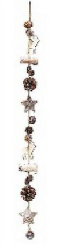 Декоративная гирлянда из деревянных элементов с шишками и колокольчиком 75см