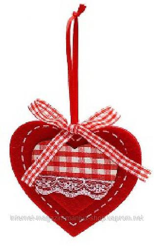 Набор войлочных украшений в форме сердца (3)