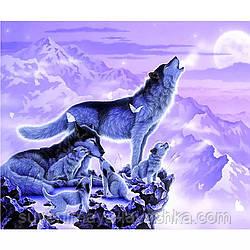 """Повна алмазна вишивка """"Вовки на березі річки"""", HUACAN, 50 x 40 див. Квадратні стрази"""
