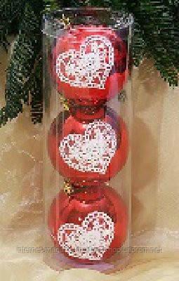 Набор пластиковых шаров (3) с кружевом, 8см