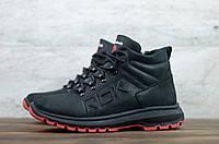 Мужские зимние ботинки на меху Reebok, натуральная кожа, черные 40