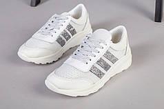 Белые кожаные кроссовки с вставками сетки и серебряными полосками, 37