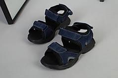 Босоножки детские кожаные синие на липучках