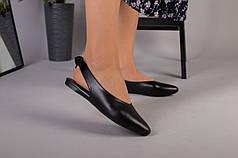Босоножки женские кожаные черные с закрытым носком