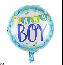 Шарик воздушный фольгированный круглый baby boy голубой  диаметр 45см.
