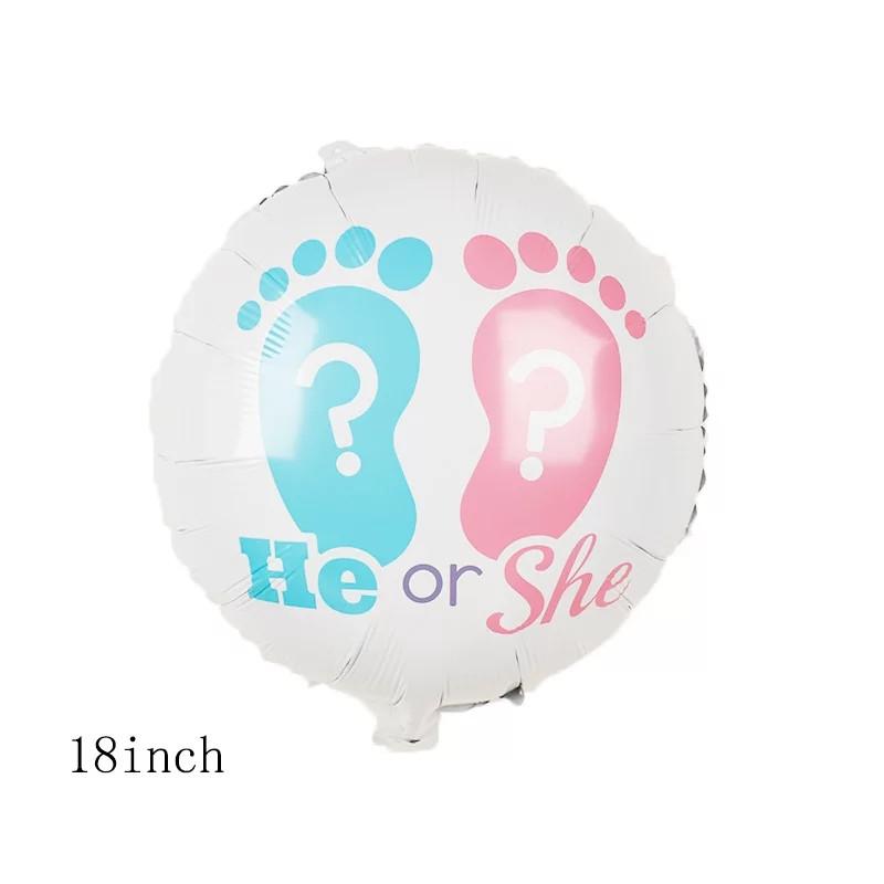 Фольгированный круглый белый шар мальчик или девочка  со следами диаметр 45 см