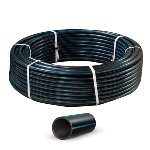 Труба полиэтиленовая водопроводная черная с синей полосой техническая D50 (100/200)