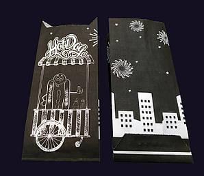 Пакет для французкого хот-дога 17х7,2х3,5 см. 40 г/м2 бумажный, черный с печатью фейерверк крафт 2000 шт/уп