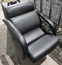 Б/У Парикмахерское кресло с мойкой. Кресло для парикмахерской. Черное кресло в парикмахерскую эко кожа, фото 2