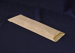 Пакет для столовых приборов 24х7,2 см., 38г/м2, 2000 шт/ящ бумажный с боковой складкой бурый крафт