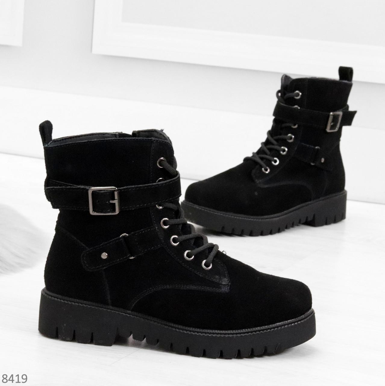 Повседневные замшевые черные женские зимние ботинки на низком ходу