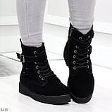 Повседневные замшевые черные женские зимние ботинки на низком ходу, фото 2
